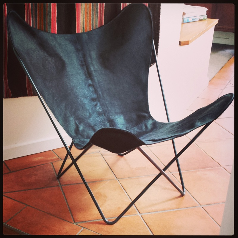 Muumuu Jet Black Hair On Cowhide Butterfly Chair Cover @$695